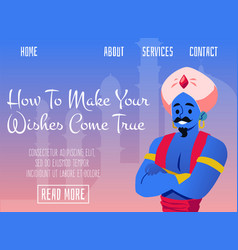 Fancy website mockup with fairy arabian genie vector