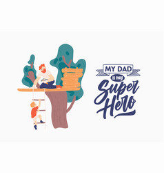 fathers day poster template with smiling parent vector image