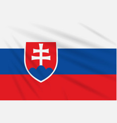 Flag slovakia swaying in wind realistic vector