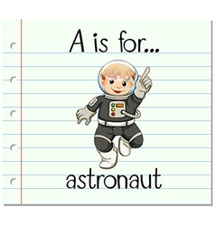 Flashcard letter A is for astronaut vector