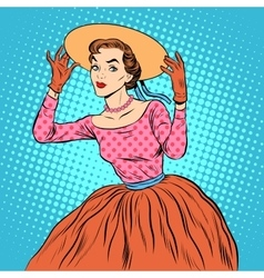Flirty girl with a fashionable hat vector