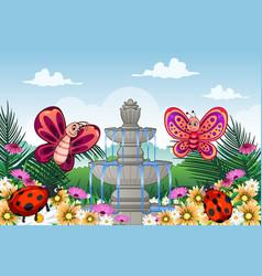 garden with cute animals vector image