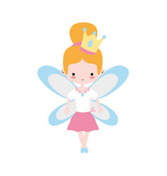 Girl dancing ballet with bun hair and wings vector
