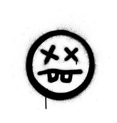 Graffiti crazy sick icon sprayed in black over vector