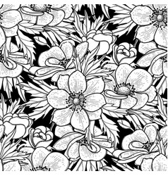 Graphic anemones pattern vector