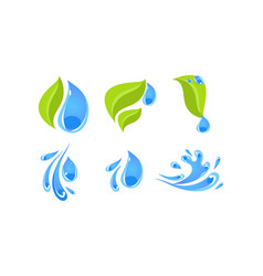green leaves and water splashes ecology concept vector image
