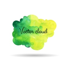 Green watercolor cloud vector image