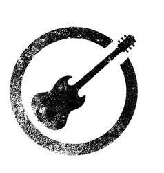 Guitar ink stamp vector