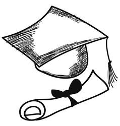 hand drawn doodle graduation cap vector image