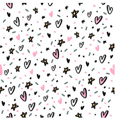 Hand drawn seamless pattern with hearts and star vector