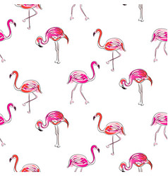 Hand drawn sketch pink flamingo seamless pattern vector