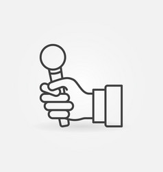 Hand holding mic icon or sign in thin line vector