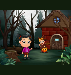 Happy halloween kid on the home page vector
