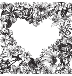 Heart silhouette on hand drawn floral background vector