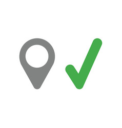 icon concept of map pointer with check mark vector image