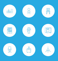 interior icons line style set with bedside table vector image