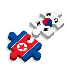 jigsaw south korea and north korea vector image
