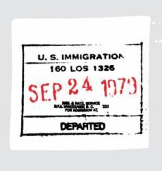 LAX departed passport stamp vector