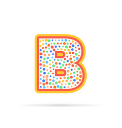 letter b with group of dots and stroke icon vector image