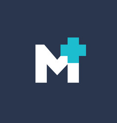 Letter m cross plus medical logo icon design vector