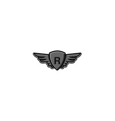 Letter r initial logo wing and badge shield vector