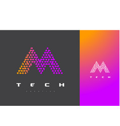 m letter logo technology connected dots letter vector image