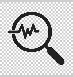 magnifying glass icon with pulse on isolated vector image