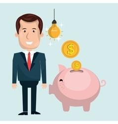 man piggy coin idea vector image
