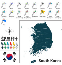 Map of south korea with divisions vector