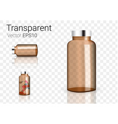 mock up realistic amber glass transparent vector image