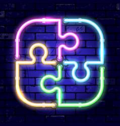 neon signboard puzzle teamwork vector image