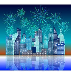 new year fireworks above the city vector image