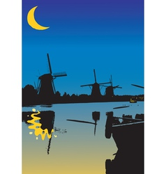 One night from the windmills vector image