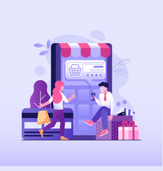 Online payment concept with people shopping online vector