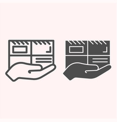 parcel line and glyph icon mail delivery hand vector image