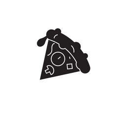 pizza slice black concept icon pizza slice vector image