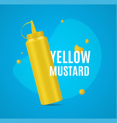 Realistic detailed 3d mustard bottle ad poster vector