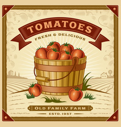 Retro tomato harvest label with landscape vector