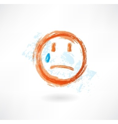 Sad grunge icon vector image