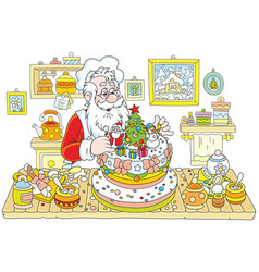 Santa claus cooking a cake vector