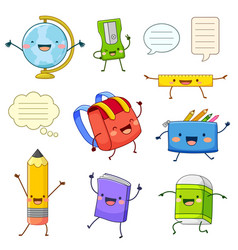 School supply cartoon characters vector