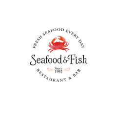 Seafood restaurant logo red crab silhouette emblem vector