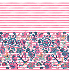 Seamless pattern of seashells and marine vector
