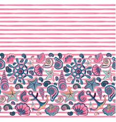 Seamless pattern seashells and marine vector