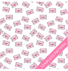 seamless pattern with love letters vector image