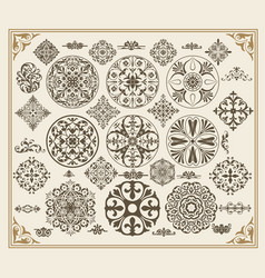 set floral vintage elements vector image