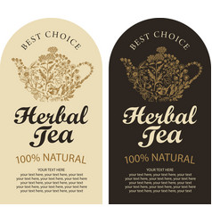 Set labels for herbal tea with kettle and herbs vector