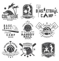 Set of basketball and baseball badge emblem vector