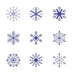 Set of nine snowflake flat icons vector image