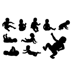 Set of ten baby silhouette vector image